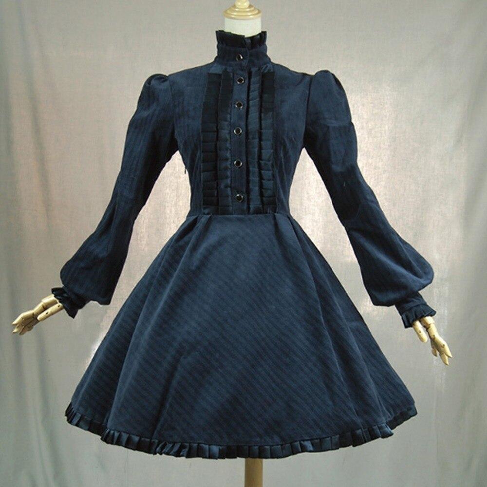 Vestido de oficina de Primavera Otoño de mujer británica vintage lolita disfraz de pana vestido Casual plisado largo rompevientos