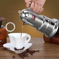 New Portable Stainless Steel Italian Moka Espresso Maker Percolator Pot Coffee Extractor 200ml