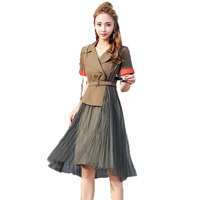 WAEOLSA Woman S Vintage Shirtdress Khaki Army Green Patcgwork One Piece Summer Women Tailored Collar Pleated