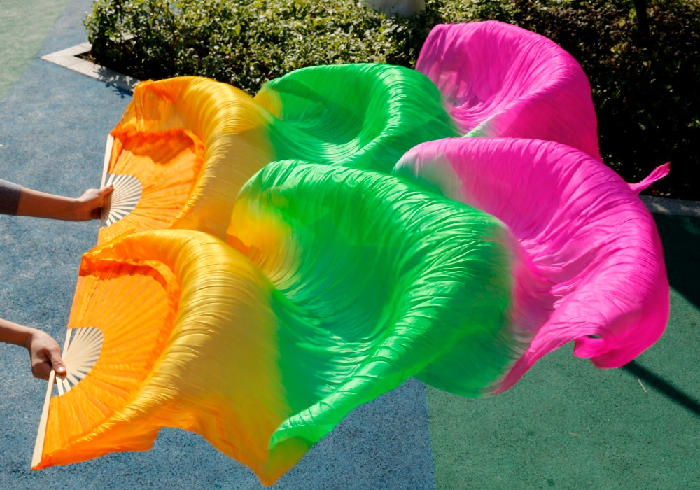 2017 Female High Quality Chinese Silk Veils Dance Fans Pair Of Belly Dancing Fans Cheap Hot Sale Orange+green+rose