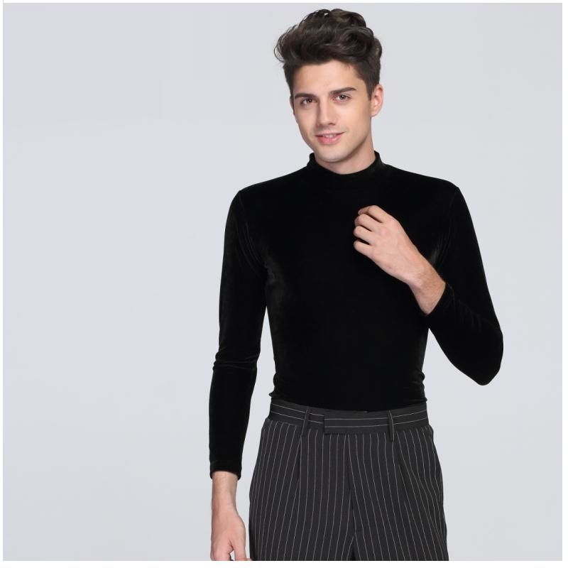 Latin Dancing Shirt Male Black Color Long Sleeve Round Collar Tops Economic Men Adult Modern Ballroom Clothes Men's Tops B-6821