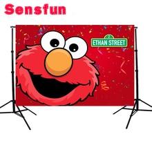 YH030 Vinyl Red Elmo Backdrops  First Birthday Party  Custom Photo Studio Background Sesame Street Backdrop 7x5ft
