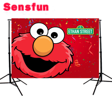 YH030 vinile rosso Elmo fondali prima festa di compleanno Studio fotografico personalizzato sfondo sesamo Street sfondo 7x5ft