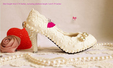 9cm High heel Lace wedding shoe pearl shoes Pearl sparkling diamond White wedding shoes handmade formal dress shoe