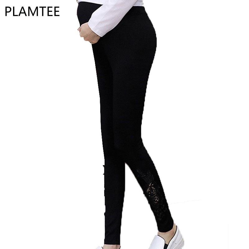 PLAMTEE 2019 Summer Maternity Pants Leggings Hollow Out New Apperal For Pregnant Women Pregnancy Trouser Clothing Plus Size M~XL