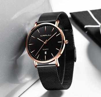 CRRJU  Men's Waterproof Fashion Stainless Steel Luxury Business Watch  2