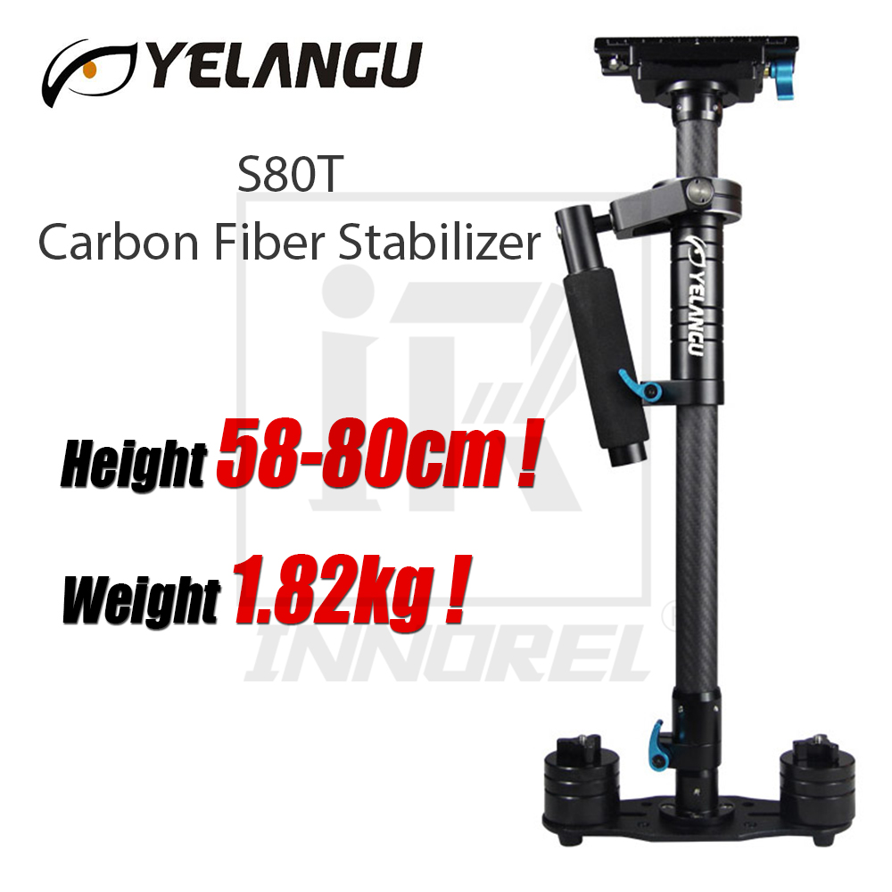 YELANGU S80T Professional Carbon Fiber Steadicam Handheld Stabilizer For DSLR Camera Video 58 80cm Height 1