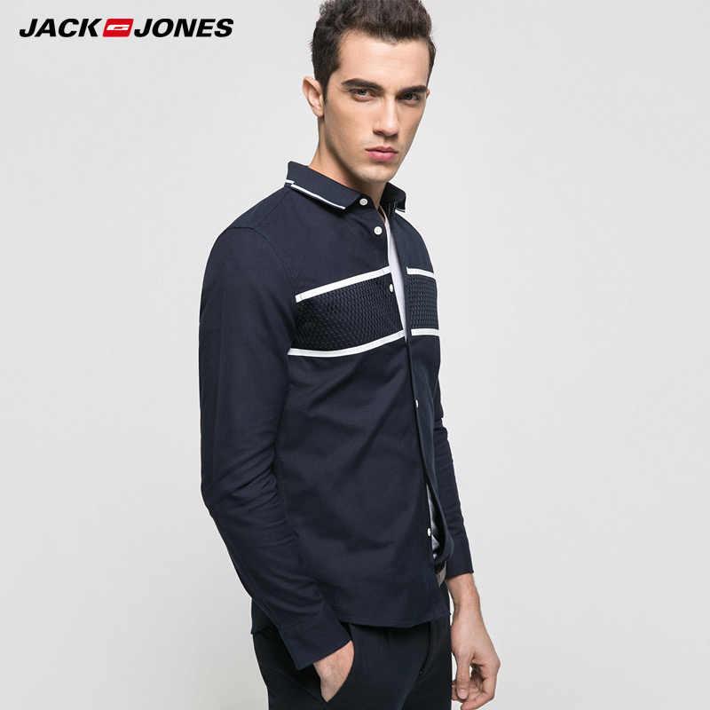 ジャック & ジョーンズブランド 2019 新若いカジュアル綿 100% ターンダウン襟パッチワーク全身スリーブ男性シャツ | 217105505