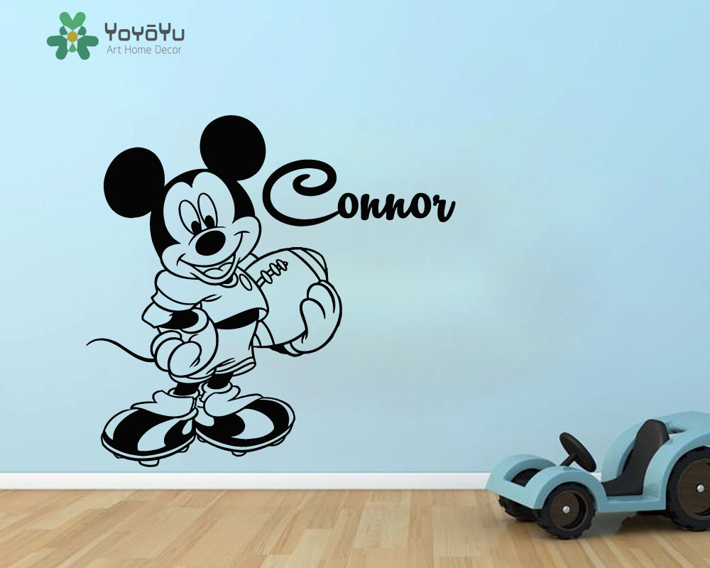Mickey Personalized Name Wall Decal For Kids Room Vinyl Wall Stickers Boys Baby Bedroom Name Decor Cartoon Animal Mural DIYSY129 in Wall Stickers from Home Garden
