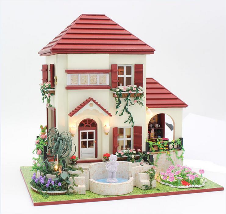 ФОТО 24th DIY Wooden Handmade Doll House 3D Model Kit Miniatures Dollhouse-Red Villa/ English instruction&Furnitures