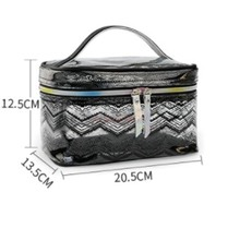 Makeup Fashion Laser Transparent Soft Plastic Cosmetic Bags Travel Large Capacity Wash Bag Multi Function Portable Storage недорого