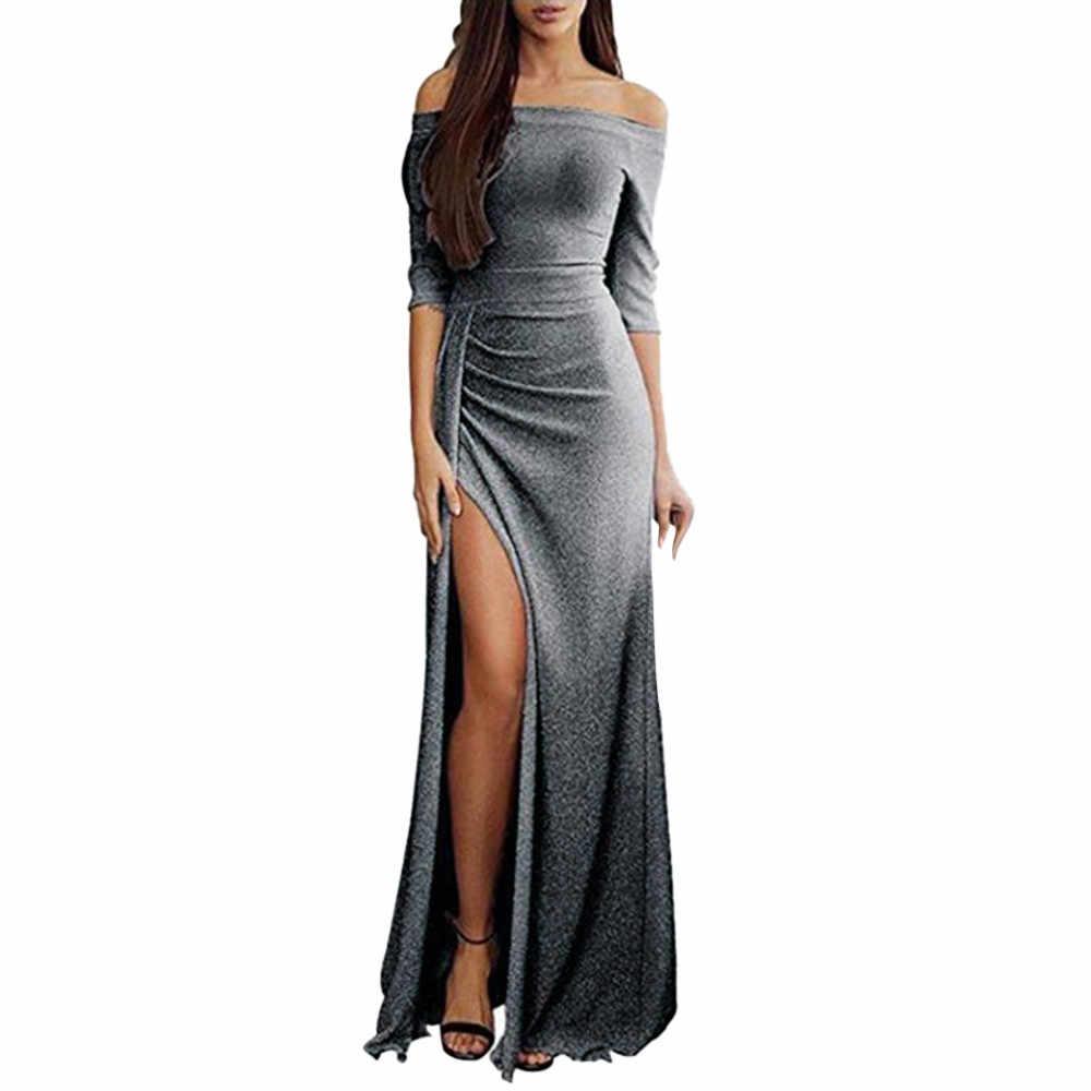 1182427611553 Sexy Off Shoulder Maxi Dresses Women High Split Long Evening Party Dresses  Half Sleeve Slash neck Women Fit and Flare Dress /PT