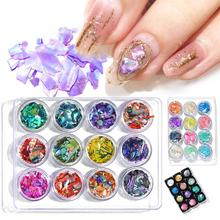 12 Kinds Mirage Pieces Nail Art Decoration Ornaments Shell Multicolored Abalone  Tool For