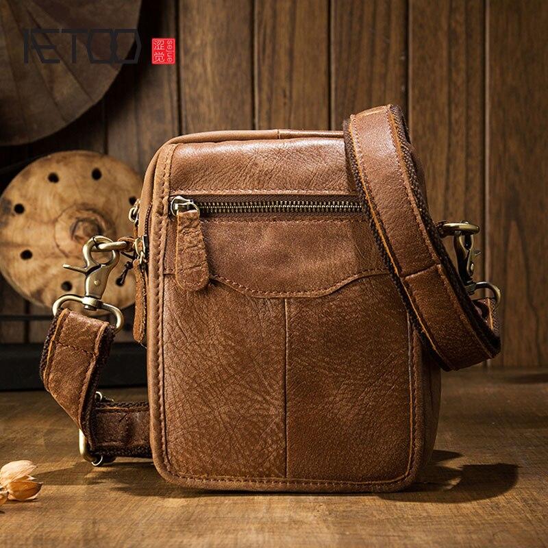 AETOO Handmade original men bag shoulder bag Messenger bag men mini leather leather casual oblique cross