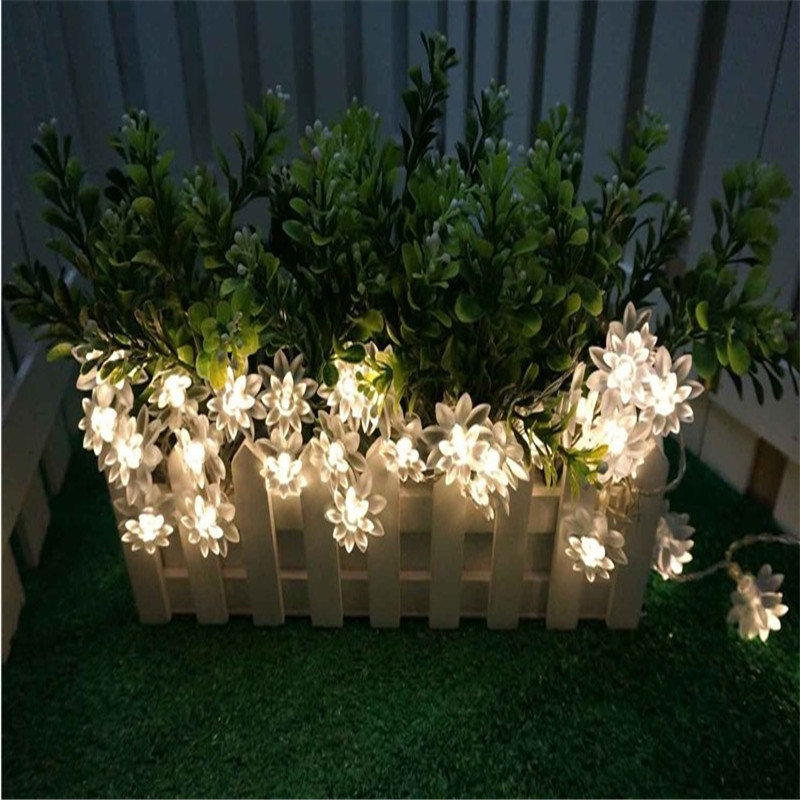 20 светодиодных гирлянд на батарейках, рождественские сказочные огни, теплый белый цветок лотоса, декоративные, для помещений, улицы, елки, вечерние, для патио