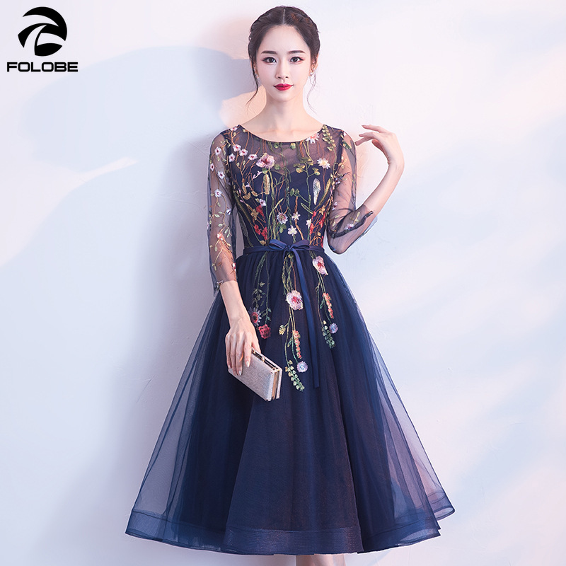 FOLOBE embroidery mesh autumn navy blue dress Women plus size backless sexy dress slim party dresses