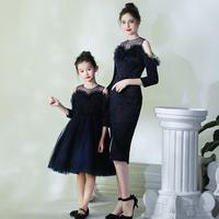 High end Elegant Mother Daughter Birthday Dresses Family Matching Outfits Evening Dress For Mom Daughter Wedding Costume Y745