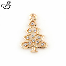 50pcs/lot Fashion Design Gold Alloy Crystal Christmas Tree Dangle Charm Pendant/Bracelet Accessories diy jewelry FA415