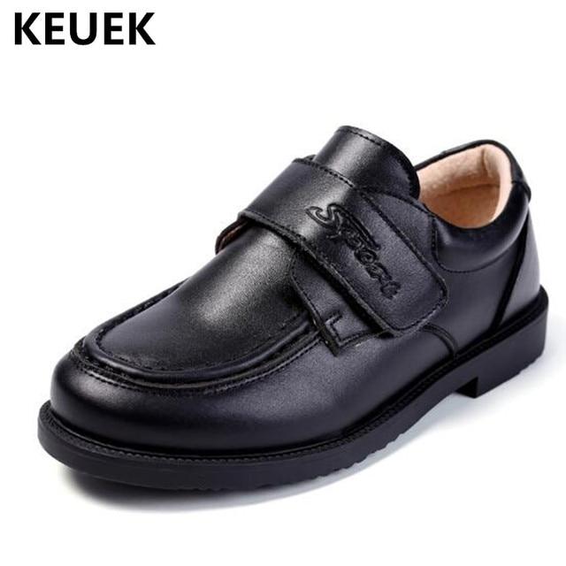 95e9803af Nuevos zapatos de vestir escolares de primavera para niños de moda clásica  negro vaca Split mocasines