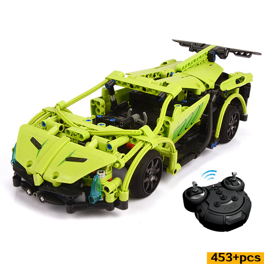 Technics 2.4Ghz radio remote control greeen super sports car bricks model speed rc toys famous Lambor building block for gifts radio-controlled car