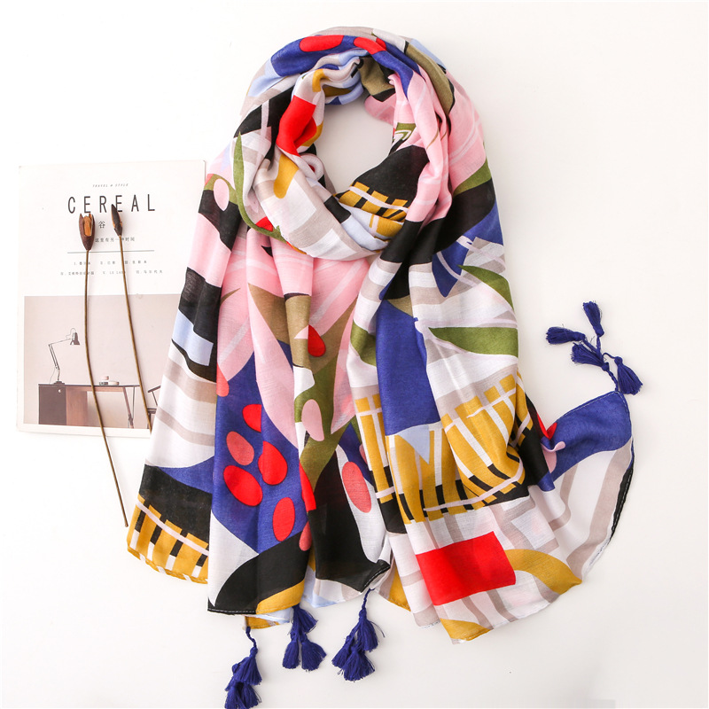 New 2019 Spain Fashion Patchwork Floral Tassel Viscose Shawl Scarf High Quality Wrap Pashminas Stole Bufandas Muslim Hijab Snood
