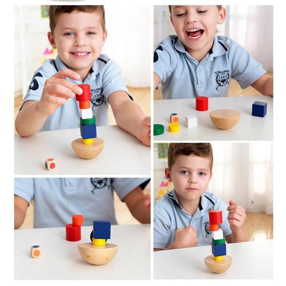8 Pcs/set Kids Wooden Geometric Balance Blocks Montessori Game Fun Toys For Children Canvas Bag Educational Learning Gifts