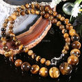 "O envio hot new Beautiful Bonito NATURAL 6-14 MM GENUÍNO OLHO de TIGRE Jasper PEDRA REDONDA BEADS COLAR 18 ""AA + sp130"