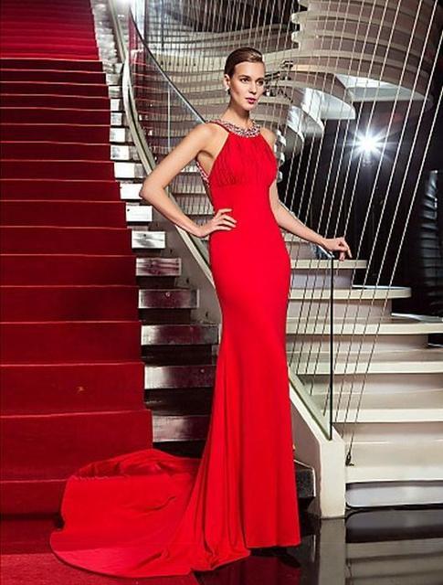Rojo sin espalda demi lovato Celebrity Pageant vestidos plisados gasa noche de la sirena vestidos largos vestidos de fiesta 2015 PD02