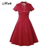 IHOT Summer New Dress Women Short sleeve Peter pan collar Vintage 50s 60s Front button Rockabilly Elegant pin up A Line dress