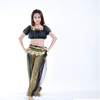 Gypsy Sexy Belly Dance Skirt With Slits Satin Arabic Belly Dance Long Skirt With Floral Pattern