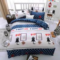 Cute Cat Star Bedding Sets White Blue Cotton 3D Duvet Comforter Cover Single Twin Full Queen