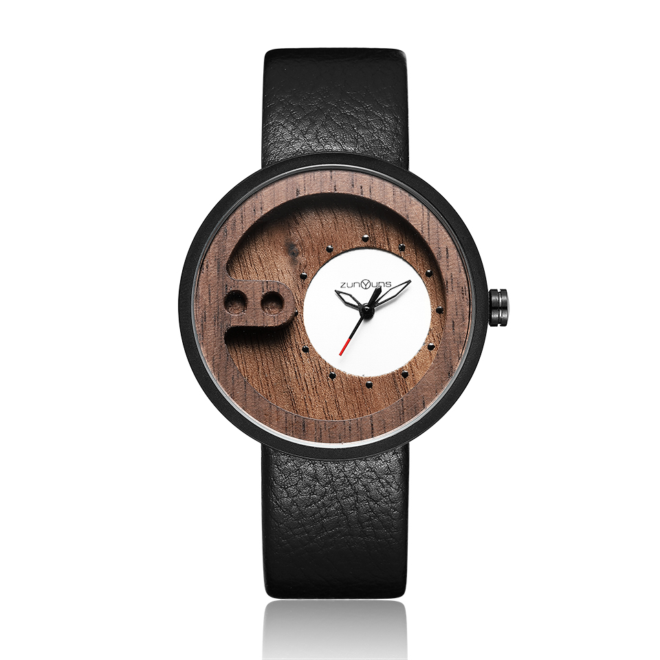 Men Watch Bamboo Case Mens Quartz Walnut Wood Wristwatch Vintage Leather Male Wrist Watches Wooden Clock reloj de madera hombres