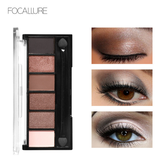 FOCALLURE 6 Colors Eyeshadow Palette Glamorous Smokey Color Eye Shadow Shimmer Glitter Smooth Creamy Powder Makeup Eye Shadow