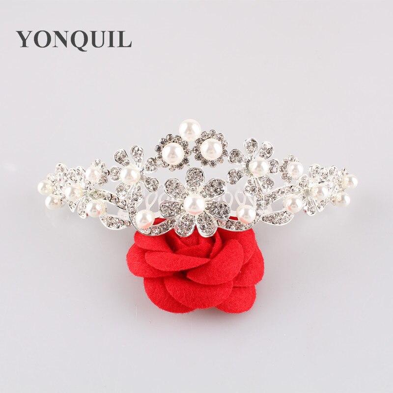 Free Shipping Fashion Rhinestone Crystals Flower font b Tiara b font Crown For Bridal Women Wedding