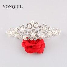 Free Shipping  Fashion Rhinestone Crystals Flower Tiara Crown For Bridal Women Wedding Hair Jewelry Accessories 3pcs/lot MYQC014