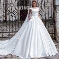 Мода простой белый длинные свадебные платья с поездом 2016 лодка шея линия атласная Карманы свадебный жениться платья vestido де noiva