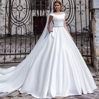 Fashion Simple White Long Wedding Dress With Train 2016 Boat Neck A Line Satin Pockets Bridal