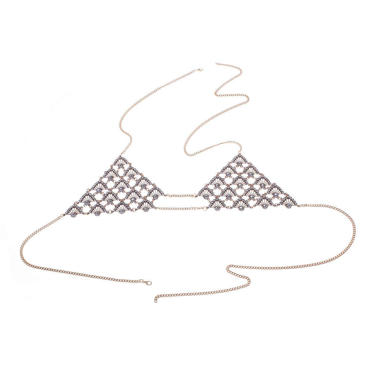Unique Bikini soutien-gorge corps chaîne Boho argent métal Triangle soutien-gorge poitrine corps chaîne collier plage bijoux cadeau pour filles Sexy VKAC1009
