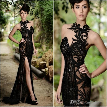 2019 Elegant Beading Split Evening Dresses Lace Appliqued High Neck Mermaid Sequins Long Prom Dress Real Images Formal Gowns