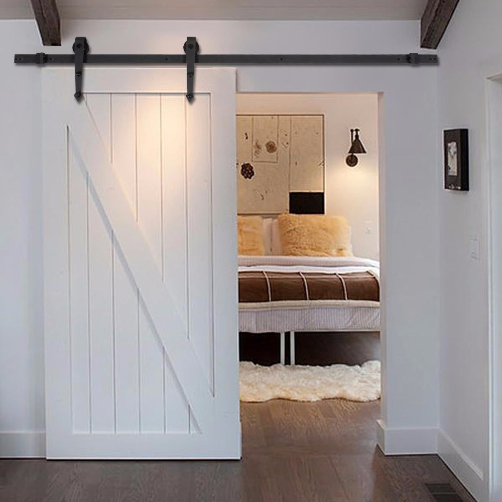free shipping 5ft 6ft 66ft black steel rustic wood sliding barn door hardware interior american sliding barn door kit