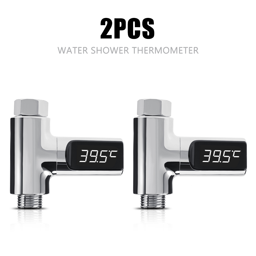 2PCS LED Display Home Water Shower Thermometer Flow Self-Generating Electricity Water Temperature Meter Monitor For Baby Care