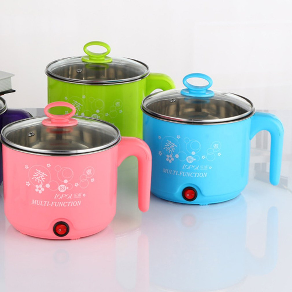 1.8L New Electric Cooker with Steamer Multifunction Stainless Steel Hot Pot Noodles Pots Rice Cooker Steamed Eggs Pan Soup Pots тарелка soup pots 20121801 14 40cm