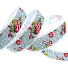 "20yards 3/4"" Printing Flower Lace Ribbon Fabric Trim Ribbon For Craft Wedding Scrapbook gift wrap ribbons 20mm"