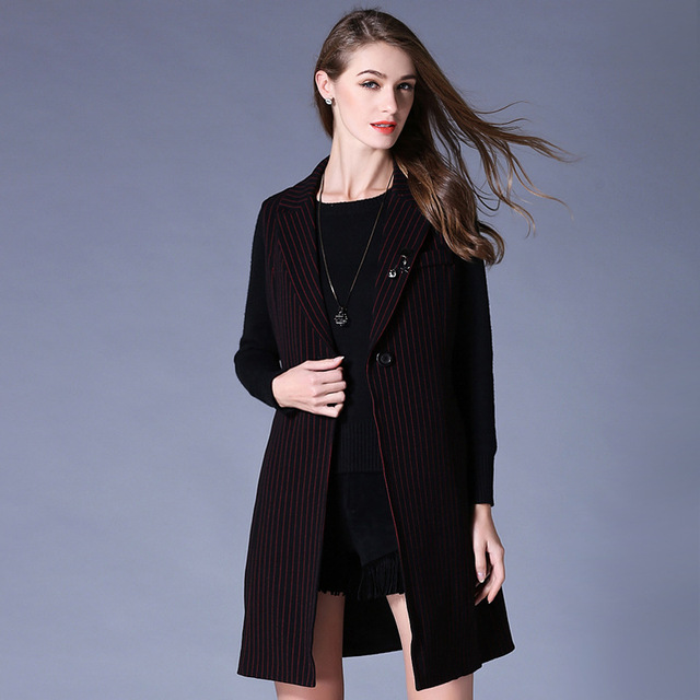 2016Autumn Women sleeveless trench coat long cardigan OutWear plus size female turn down collar casual vest blouse topXXXXXL6743