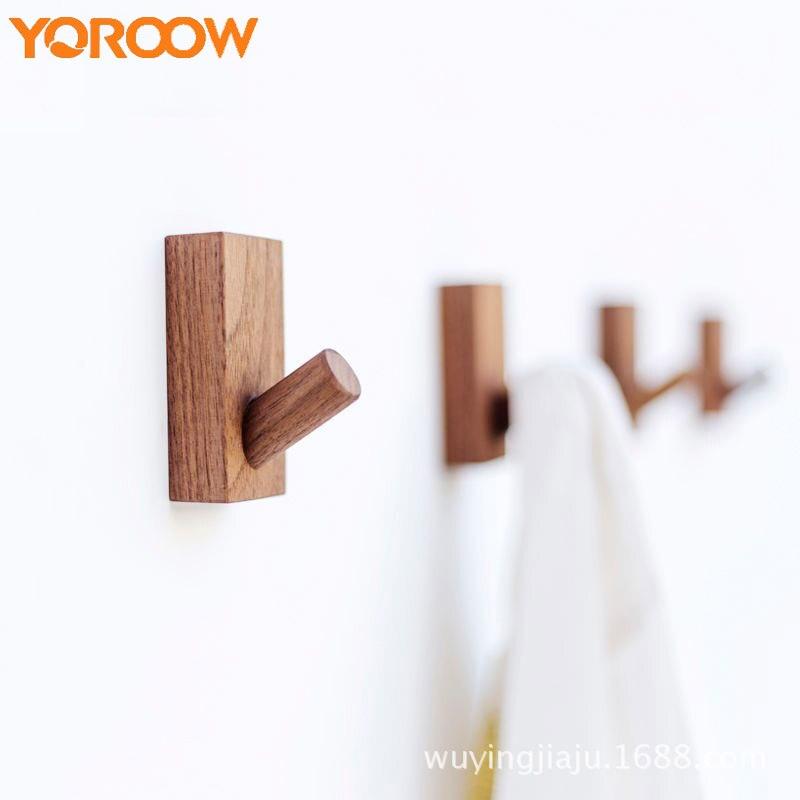 Single Wood Hook Adhesive Wall Coat Hanger Small Cap Hat Key Hooks Clothes Towel 3M Nordic Solid Self-adhesive Cloth FJ0030