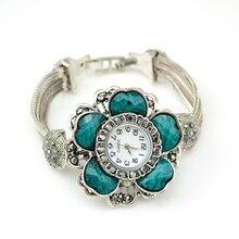 Hot sale 2017  Fashion 4 Colors Casual Antique Silver Wide Layered Chain Big Vogue Flower Bracelet Wrist Bracelet