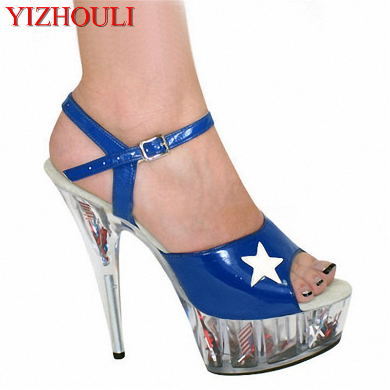 Hollowed-out Cinderella Princess Dance Shoes 15cm High Heel Sandals Steady Star Fan Stage Shoes