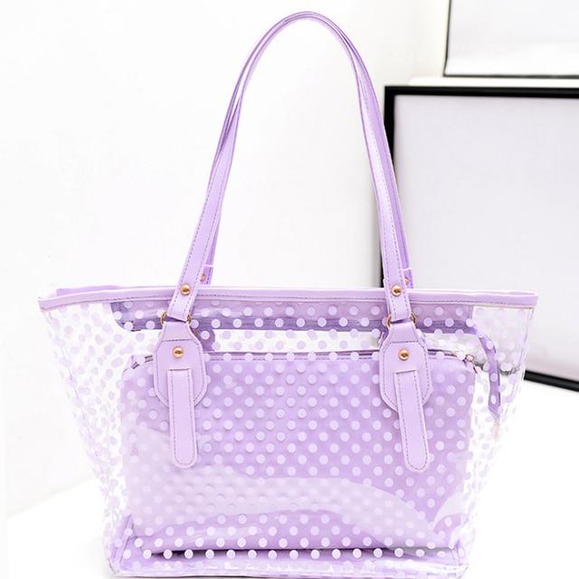 ARESLAND Women Ladies Handbags Transparent Jelly Style Dot Pattern Beach Bag New Fashion Handbag Casual Tote Feminina Purple