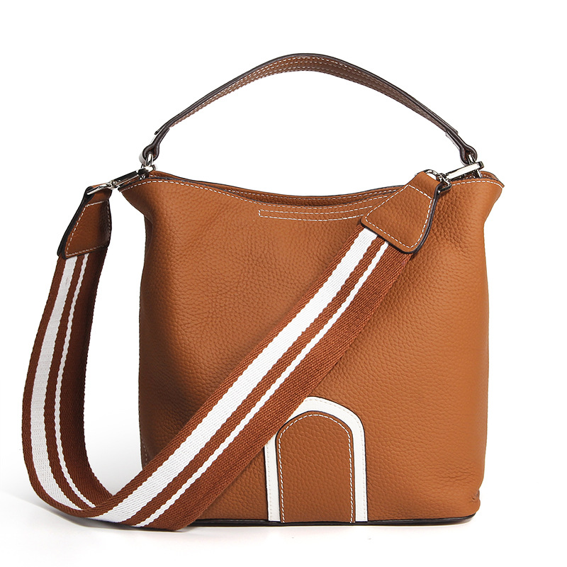 Fashion Genuine Leather Women Handbags Bucket Wide Strap Women's Shoulder Bag Ladies Messenger Bags Female Crossbody Bag #LF182 bucket bags women genuine leather handbags female new wave wild messenger bag casual simple fashion leather shoulder bags