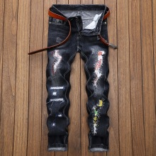 2018 HIP HOP Hot MOTO Biker Fashion Men Washed Ripped Destroyed Holes Jeans Straight Casual Straight Denim Trousers